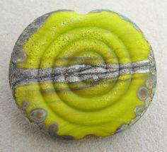 Spiral Earth StonesElectric Lime Handmade lampwork glass by Genea