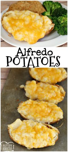 Alfredo Potatoes - easy side dish recipe of cheesy Alfredo Baked Potatoes from Butter With a Side of Bread AD #BarberFoods