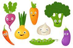 Funny Various Cartoon Vegetables @creativework247