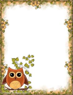 . Borders For Paper, Borders And Frames, Paper Owls, Paper Art, Free Printable Stationery, School Frame, Owl Birthday Parties, Owl Classroom, Owl Crafts
