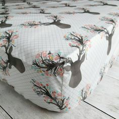 Sheets don't have to be boring! Skip the plain white sheet and dress up your baby girl's crib with this beautiful floral stag crib sheet. This sheet is the perfect addition to your baby's woodland nursery!  Need bedding to match?   See this listing for a crib quilt https://www.etsy.com/