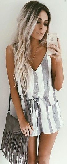 #summer #girly #outfits |  Stripe Playsuit