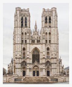 Buxelles Sint-Michiels en Sint-Goedelekathedraal by Markus Brunetti Architecture Romane, Romanesque Architecture, Cathedral Architecture, Religious Architecture, Gothic Architecture, Historical Architecture, Amazing Architecture, Ancient Architecture, Aachen Cathedral