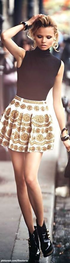 Black Sleeveless Turtleneck On Lovely Printed Skirt #black