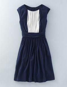 Selina Dress - I love the slight cap sleeve and little bit of A-line. The color scheme is great. I prefer dresses that cover the very top of the knee.