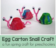 egg carton snail - egg carton craft - recycled craft - kid crafts - acraftylife.com #preschool #craftsforkids #crafts #kidscraft