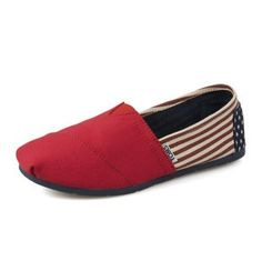 Toms Shoes Red Navy Blue Flag Printing Womens Classics