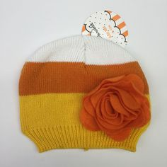 b9ee121f564 So Dorable Candy Corn Knit Cap Baby Girl 6-12 Months Yellow Orange Flower  NWT
