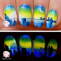 PiggieLuv: Starry night glow in the dark nail art - HPB linkup Dark Nail Art, Dark Nails, Cool Nail Art, Colorful Nail Designs, Cool Nail Designs, Glow Nails, Fun Nails, City Nails, Nail Polish Designs