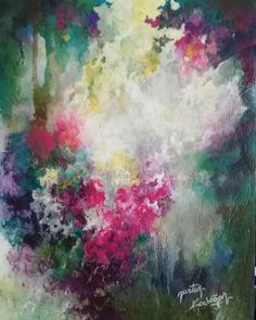 30×21cm Acrylic abstract florals on hardboard. Original painting by Nurten Koçboğan