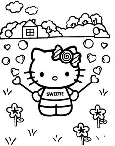 Hello Kitty Ready to Sleep coloring page for kids, for