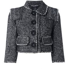 Dolce & Gabbana tweed cropped jacket (83.570 RUB) ❤ liked on Polyvore featuring outerwear, jackets, black, cropped jacket, tweed jacket, cropped tweed jacket, collar jacket and stitch jacket