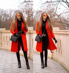 30 Trendy ideas how to wear red coat heels Winter Mode Outfits, Casual Winter Outfits, Winter Fashion Outfits, Outfit Winter, Red Coat Outfit, Red Trench Coat, Look Blazer, Winter Stil, Stylish Clothes