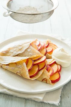 vanilla bean crepes with peaces and cream + 9 other delicious sweet crepe recipes.