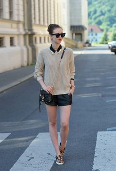 )sweater - American Apparel / blouse - Choies / shorts - Topshop / slip ons - Choies / bag - Rebecca Minkoff / sunglasses - Ray Ban / watch - Michael Kors