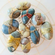 """""""Small Blessings"""" by Artist Deloss Webber - Walter Attaway - The Shop Stone Crafts, Rock Crafts, Collage Kunst, Pierre Decorative, Crochet Stone, Rock Sculpture, Rock And Pebbles, Stone Wrapping, Rock Painting Designs"""
