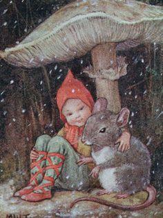 Margaret W. Tarrant: Fairy & Mouse Under A Mushroom, Vintage Christmas Card, Vintage Christmas Cards, Vintage Cards, Vintage Images, Flower Fairies, Fairy Art, Magical Creatures, Woodland Creatures, Children's Book Illustration, Book Illustrations