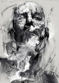 Monochrome abstract portrait painting of a man - surrealista abstracto Abstract Portrait Painting, Portrait Art, Abstract Art, Portrait Paintings, Acrylic Paintings, Abstract Landscape, Dark Art Paintings, Arte Obscura, A Level Art