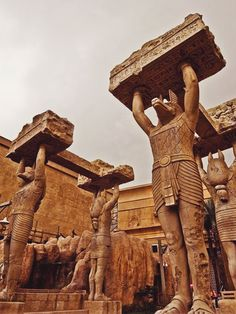 this is cool, I've never seen a picture of these columns. I believe they are statues of Anubis. - - - the pyramids of Giza, Egypt Ancient Egyptian Art, Ancient Ruins, Ancient Artifacts, Ancient History, Art History, European History, Ancient Greece, History Facts, Egyptian Temple