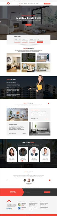 Real Estate is a wonderful #PSD template for all #webdev construction, #Property service and business websites with 3 homepage layouts and 13 organized PSD pages download now➩ https://themeforest.net/item/real-estate-psd-template/19319668?ref=Datasata