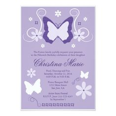 Purple Butterfly Quinceanera Invitations