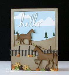 Hello and welcome to my blog today! I'm sharing two cards I created with Starlitstudio's exclusive new die from Memory Box, called Horse Country. A Fall card... inside... and a Wint...