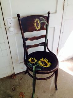 I painted the sunflower chair to match an old green shutter