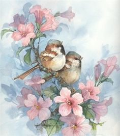 Carolyn Shores Wright. - Bird - pink flowers