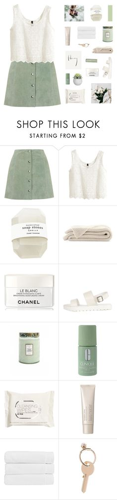 """""""willow fresh and green with every spring"""" by sabulous836 ❤ liked on Polyvore featuring Topshop, H&M, Chanel, Voluspa, Clinique, GET LOST, Laura Mercier, Christy and Maison Margiela"""