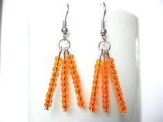Orange earrings boho earrings glass beads earrings door EraOfCrea