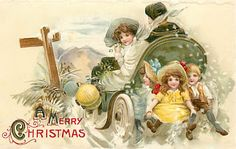 bumble button: More darling Christmas antique postcards. Children with packages,Santas Free clip art