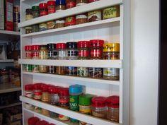 DIY Pantry Spice Rack – Home Staging In Bloomington Illinois Kitchen Pantry Design, Diy Kitchen Storage, Pantry Storage, Pantry Organization, Organized Pantry, Kitchen Ideas, Pantry Ideas, Organizing Ideas, Kitchen Updates