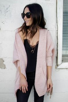 Black lace cami with chunky knit cardi