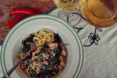 Food makes me happy : Špagety na víne