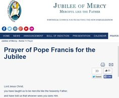 Prayer of Pope Francis for the Jubilee of Mercy