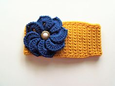 Adjustable Headband/Earwarmer with Flower in Gold with Royal Blue Flower by BeyondCrochet