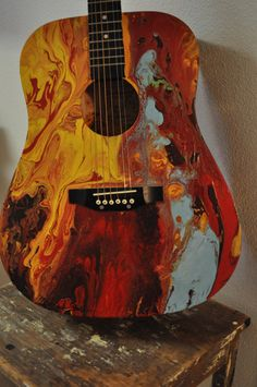 Abstract Painted Guitar by heartifactsgallery