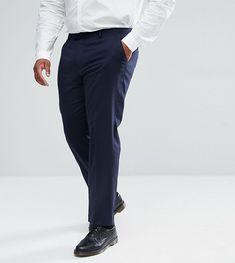 ASOS PLUS Slim Suit Pants In Navy - Navy