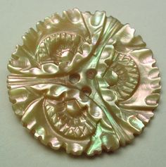 Antique Iridescent Shell Button Fancy Floral w/ Pinks & Greens