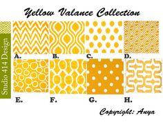 Yellow Valance. Yellow Chevron  Valance.Yellow Window Treatment.Kitchen Window Valance.Valance Window Treatment