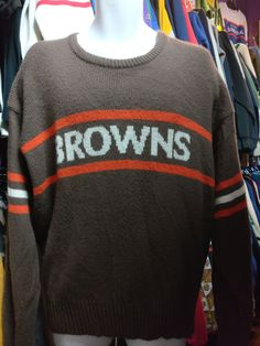 Vintage 80s CLEVELAND BROWNS Cliff Engle NFL Sweater XL
