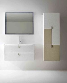 "Elegant bathroom Personality, doors in gloss lacquered and ""butter colour"", ""Space"" washbasin in Mineralmarble W 96 cm"