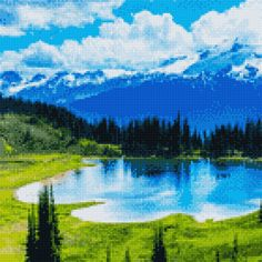 23 Fantastic Innovations For Small Cross Stitch, Cross Stitch Pictures, Favorite Pastime, Off Colour, Fabric Scraps, Cross Stitching, Northern Lights, Craft Projects, Mountains