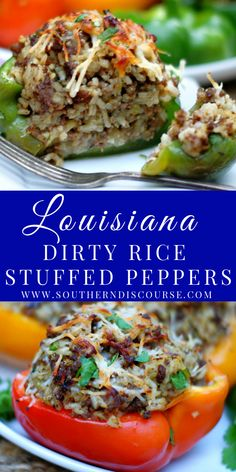 Louisiana Dirty Rice was made to be stuffed into a zesty bell pepper and enjoyed! Richly savory, wonderfully aromatic, the seasoned ground beef, spicy sausage, herbs and rice marry perfectly with sweet bell peppers to create a classic comfort meal. Top with Parmesan cheese and this easy recipe becomes a new way to enjoy a Louisiana tradition or just make the most of your dirty rice leftovers! Dirty Rice Recipe With Sausage, Spicy Sausage, Sausage Recipes, Cooking Recipes, Louisiana Recipes, Southern Recipes, Cooking Peppers, Stuffed Peppers With Rice, Healthy Food