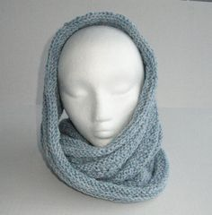 Light Blue Infinity Cowl Scarf Wool and Acrylic by MFcrafts