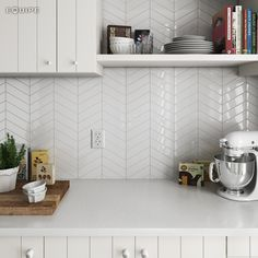 Chevron White 18,6x5,2. #architecture, #architect, #bath, #bathroom tile, #ceramic tile, #ceramic tiles, #contemporary, #contractor, #geometric, #chevron, #geometry, #design, #house, #interior design, #interior designer, #kitchen, #kitchen tile, #modern, #tile, #traditional, #brick, #vanguard, #modern, #white body, #equipe, #equipe cerámicas, #cerámica, #indoor