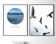 Set of 2, Print Set, Ocean Print, Coastal Print, Waves, Beach, Beach Photos, Ocean, Photography, Water, Minimalist, Poster, Bondi, seagulls