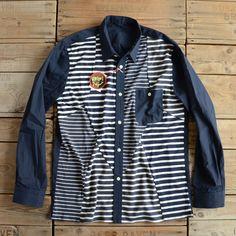 "ink / ""Remake Marine Border Shirts"" (Navy)"