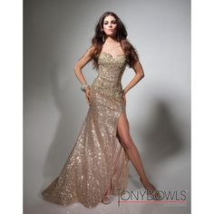 Ladies Gold A-line Sweetheart Tony Bowls Evenings Tbe21376 Sequin Gown