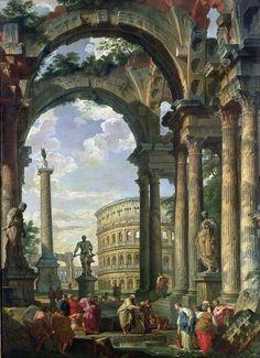 Giovanni Paolo Panini, Roman Capriccio, 18th century | Art of the Day | Magazine | Artfinder